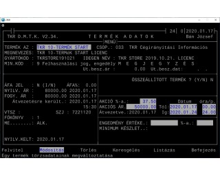 TKR 10-Termék Start licenc