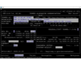 TKR 10-Számla és Nyugta Start licenc