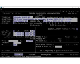 TKR Pláza tudáskezelő és szoftver áruház 2020.01.22. Licenc