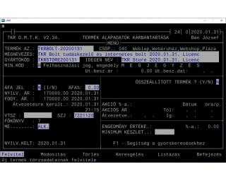 TKR Bolt tudáskezelő és internetes bolt 2020.01.31. Licenc